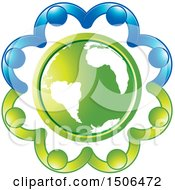 Clipart Of A Green Earth Globe Encircled With Blue And Green People Holding Hands Royalty Free Vector Illustration