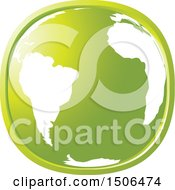Clipart Of A Green Earth Icon Royalty Free Vector Illustration