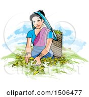 Clipart Of A Sri Lankan Lady Tea Plucking Royalty Free Vector Illustration