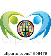 Clipart Of A Colorful Globe Embraced By Blue And Green People Royalty Free Vector Illustration