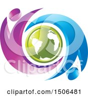 Poster, Art Print Of Green Earth Encircled With Flying Jumping Or Cheering People