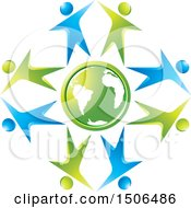 Poster, Art Print Of Green Earth Globe Encircled With Blue And Green People Dancing High Fiving Or Cheering