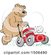 Clipart Of A Bear Pushing A Lawn Mower Royalty Free Vector Illustration by Johnny Sajem