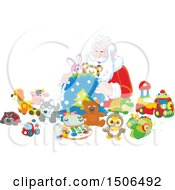 Clipart Of A Scene Of Santa Stuffing Toys Into His Sack Royalty Free Vector Illustration