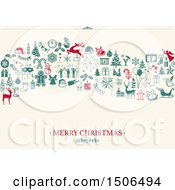 Clipart Of A Merry Christmas And Happy New Year Greeting With Icons On Off White Royalty Free Vector Illustration