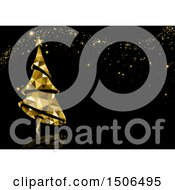 Clipart Of A Christmas Background Of A Geometric Golden Tree And Sparkles On Black Royalty Free Vector Illustration by dero