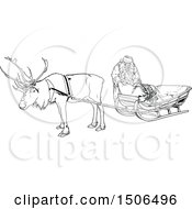 Clipart Of A Black And White Christmas Reindeer And Santa At A Sleigh Royalty Free Vector Illustration by dero
