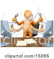 Busy Orange Employee Standing In Front Of Their Desk Chair Two Computer Screens And Papers On Their Desk While Multitasking And Taking Multiple Phone Calls At Once Clipart Graphic