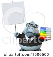 3d White Business Monkey Yeti Holding Books On A White Background