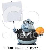 Poster, Art Print Of 3d White Business Monkey Yeti Holding An Orange On A White Background