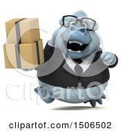 3d White Business Monkey Yeti Holding Boxes On A White Background