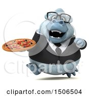 3d White Business Monkey Yeti Holding A Pizza On A White Background