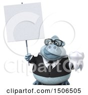 3d White Business Monkey Yeti Holding A Tooth On A White Background
