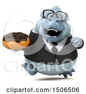 3d White Business Monkey Yeti Holding A Donut On A White Background