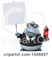 3d White Business Monkey Yeti Holding A Soda On A White Background