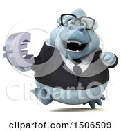3d White Business Monkey Yeti Holding A Euro On A White Background