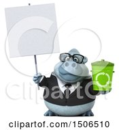 3d White Business Monkey Yeti Holding A Recycle Bin On A White Background