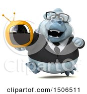 Poster, Art Print Of 3d White Business Monkey Yeti Holding A Tv On A White Background