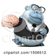 Poster, Art Print Of 3d White Business Monkey Yeti Holding A Brain On A White Background