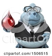 3d White Business Monkey Yeti Holding A Blood Drop On A White Background