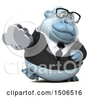 3d White Business Monkey Yeti Holding A Cloud On A White Background