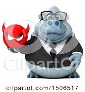 3d White Business Monkey Yeti Holding A Devil On A White Background