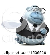3d White Business Monkey Yeti Holding A Plate On A White Background