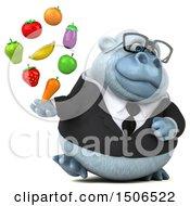 3d White Business Monkey Yeti Holding Produce On A White Background