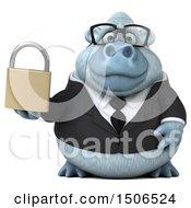 3d White Business Monkey Yeti Holding A Padlock On A White Background