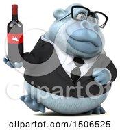 3d White Business Monkey Yeti Holding A Wine Bottle On A White Background