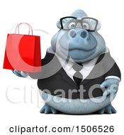 Poster, Art Print Of 3d White Business Monkey Yeti Holding A Shopping Bag On A White Background