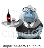 3d White Business Monkey Yeti Holding A Wine Tray On A White Background