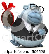Poster, Art Print Of 3d White Business Monkey Yeti Holding A Chocolate Egg On A White Background