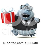 3d White Business Monkey Yeti Holding A Gift On A White Background