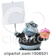 3d White Business Monkey Yeti Holding A Cupcake On A White Background