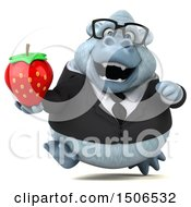 3d White Business Monkey Yeti Holding A Strawberry On A White Background