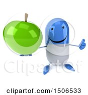 Clipart Of A 3d Blue Pill Character Holding A Green Apple On A White Background Royalty Free Illustration