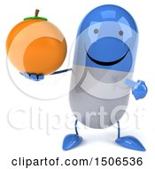 Clipart Of A 3d Blue Pill Character Holding An Orange On A White Background Royalty Free Illustration