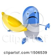 Clipart Of A 3d Blue Pill Character Holding A Banana On A White Background Royalty Free Illustration
