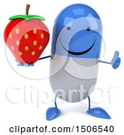 Clipart Of A 3d Blue Pill Character Holding A Strawberry On A White Background Royalty Free Illustration