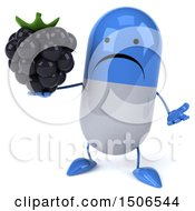 Clipart Of A 3d Blue Pill Character Holding A Blackberry On A White Background Royalty Free Illustration