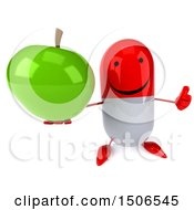 Clipart Of A 3d Red Pill Character Holding A Green Apple On A White Background Royalty Free Illustration