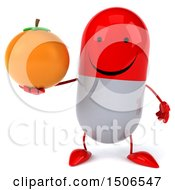Clipart Of A 3d Red Pill Character Holding An Orange On A White Background Royalty Free Illustration