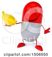 Clipart Of A 3d Red Pill Character Holding A Banana On A White Background Royalty Free Illustration