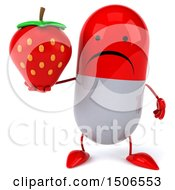Clipart Of A 3d Red Pill Character Holding A Strawberry On A White Background Royalty Free Illustration