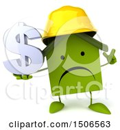 3d Green Home Contractor Holding A Dollar Sign On A White Background