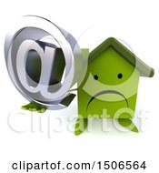 Clipart Of A 3d Green Home Holding An Email Symbol On A White Background Royalty Free Illustration
