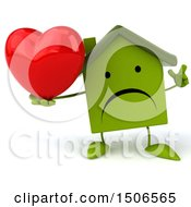 Poster, Art Print Of 3d Green Home Holding A Heart On A White Background