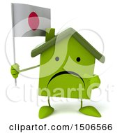 Poster, Art Print Of 3d Green Home Holding A Japanese Flag On A White Background