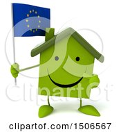 Clipart Of A 3d Green Home Holding A European Flag On A White Background Royalty Free Illustration